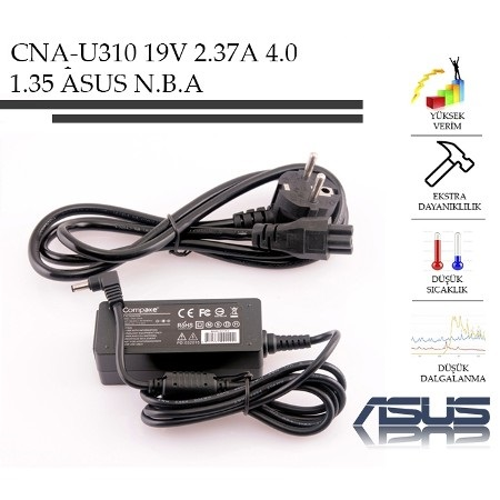 Asus UX21E, UX30, UX31E 19V 2.37A (45W) - 4.0mm 1.35mm Notebook Adaptör - Laptop Sarj Cihazi